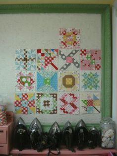 Farmer's Wife quilt along tutorials..felt board for craft room to use laying out quilts