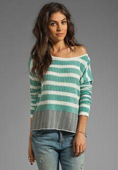 Jack by BB Dakota Adalyn Stripe Cotton Sweater in Black/Ivory/Persian Teal  $66.00 onsale for $47.00