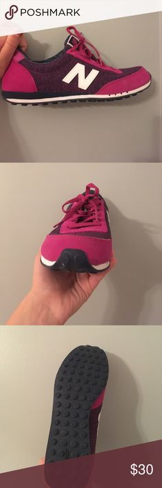 New Balance 410 These super cute New Balances go great with athletic and casual outfits. They are super comfy and great quality. Only worn maybe 4 times and they need a home!! Beautiful hot pink base with some purple and blue space dye around it. These say size 11 but fit me a 10. New Balance Shoes Sneakers