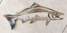 16 inch Salmon Fish Trout Rustic Cabin Metal Wall Art Sign Stencil Heat Colored | eBay