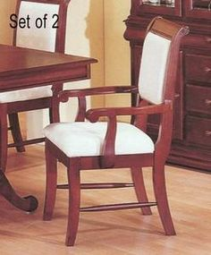 Set of 2 Louis Phillipe Collection Cherry Arm Dining Chairs