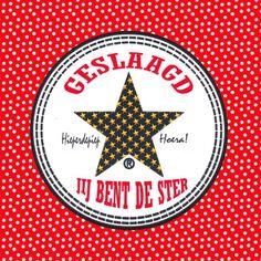 Geslaagd kaart Stip Ster PA, verkrijgbaar bij #kaartje2go voor €1,99