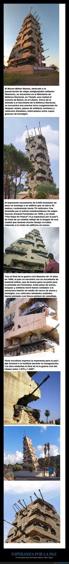 ESPERANZA POR LA PAZ - Un monumento hecho de material militar en Yarze, Líbano   Gracias a http://www.cuantarazon.com/   Si quieres leer la noticia completa visita: http://www.estoy-aburrido.com/esperanza-por-la-paz-un-monumento-hecho-de-material-militar-en-yarze-libano/
