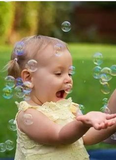 Dear heart, how many bubbles can you catch? Lets count 1....2....3 *Smile* *Wink*