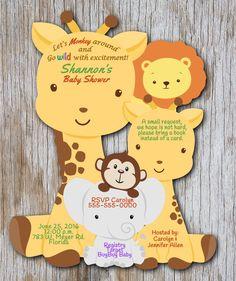 Giraffe Baby Shower Invitation Elephant Baby Shower Safari Themed Baby Shower Invitation Monkey Themed Invitations Giraffe Invitations Lion by newyorkinvitations on Etsy Monkey Invitations, Custom Birthday Invitations, Baby Shower Invitations, Invitation Ideas, Passport Invitations, Invitation Design, Invitation Cards, Invite, Baby Shower Parties