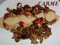 El solomillo de cerdo con salsa de setas   **PARA LA SALSA PINCHAR EL ENLACE**: [Salsa de setas cultivadas](http://www.mis-recetas.org/recetas/show/36200-salsa-de-setas-cultivadas)