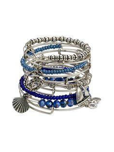women's alex and ani bracelet sets | Set of 12 Blue Bead & Nautical Charm Bangle Bracelets by Alex & Ani at ...