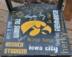 Hand painted Iowa Hawkeye Chair painted by ME :) Iowa Hawkeyes, Chalkboard Art, Hawks, Hand Painted, Chair, Barn, Painting, Fall Chalkboard Art, Converted Barn