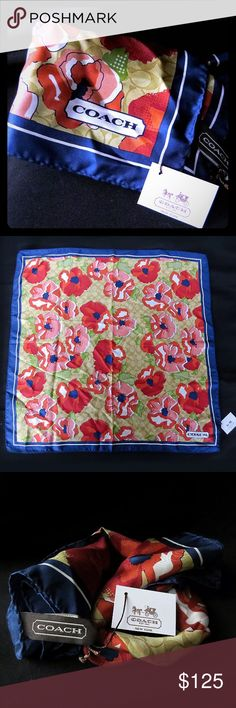 """COACH Ashley Poppy Floral Silk Scarf NWT Monogram Absolutely gorgeous 100% silk scarf by COACH, still new with tags, marked as the Ashley Floral pattern. Beautiful vibrant colors of blue, red, golds and greens, over the Coach monogrammed logo background, makes for a phenomenal accessory to any ensemble.   This is an extremely rare pattern for the Ashley line of COACH products.   It's 21"""" by 21"""", 100% silk and marked as Dry Clean Only.   From a smoke-free home. Coach Accessories Scarves…"""