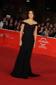Sabrina Ferilli in long dress nero