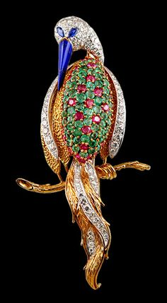 18k yellow gold diamond, ruby & emerald bird pin