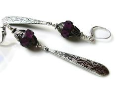 Amethyst Picasso Czech Firepolished Faceted Turbine Bead and Victorian Etched Dangle Earrings, via Etsy.