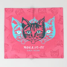 MOLLYCAT - Dublin - Helsinki Throw Blanket. #comfy #blanket #home #furnishings #throwblanket #s6 #society6 #cozy #fleece #plush #soft #mollycat #dublin #helsinki #finland #designer #catseyes #fun #fashionista #eyes #animals #image #pink