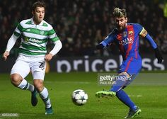 Barcelona's Argentinian striker Lionel Messi shoots to score the opening goal during the UEFA Champions League group C football match between Celtic...