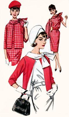 1960s Wiggle Dress Suit Butterick 2563 Jackie O Style Boxy Jacket Tie Scarf Collar Vintage MOD Sewing Pattern Size 16 Bust 36 UNCUT by sandritocat on Etsy