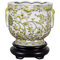 Lemon Floral Porcelain Cachepot - #V2670 | Lamps Plus