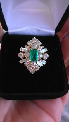 Spectacular 14k Gold 3ct  Diamond Emerald Ballerina Ring by MADAMECKERSON on Etsy https://www.etsy.com/listing/185224314/spectacular-14k-gold-3ct-diamond-emerald