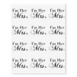 I'm Her Mrs. Temporary Tattoos best personalized custom printed wedding temporary tattoos.  Use for bachelorette parties or wedding favors.  A fun way to personalize your wedding.