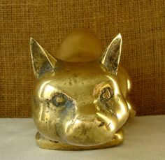 """vintage brass crouching cat figurine  very detailed crouching cat with curled tail  heavy enough for a doorstop  solid brass measures 7"""" x 3"""""""