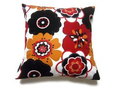 Decorative Pillow Cover Black White Red by LynnesThisandThat, $15.00