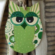 Green handpainted owl hanging decoration