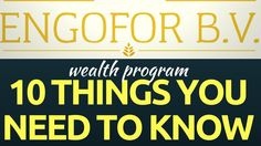 Engofor - 10 Things You Need To Know About Engofor Wealth Program