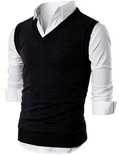 Men's Clothing - Ohoo Mens Slim Fit Casual VNeck Knit Vest >>> For more information, visit image link. (This is an Amazon affiliate link)