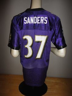 DEION SANDERS Reebok BALTIMORE RAVENS Purple Jersey - Youth Size Large L 0808f2ba9