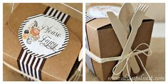 """Have kraft box """"To Go"""" boxes with cute stickers ready for guests to take home left overs. #thanksgiving"""