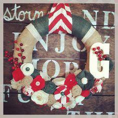 Christmas wreath, holiday wreath, chevron wreath, Christmas monogram wreath, Christmas gift on Etsy, $45.00