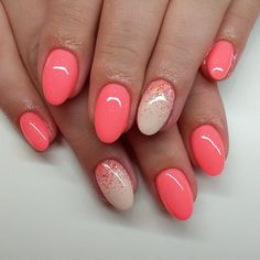 I like the coral colour, the glitter, and the shape of the nail.