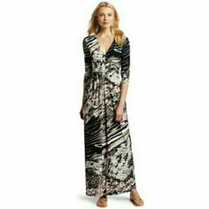 Elegant Wrap and Maxi Dress This is a stunning dress! Perfect for so many occasions! Wrap and maxi dress combined. V-neck. Ruching below chest. Hand wash cold. 95% polyester, 5% spandex. No flaws on this dress. BCBGMaxAzria Dresses Maxi