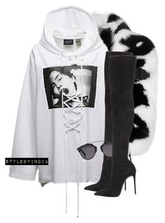 A fashion look from November 2016 featuring lace up hooded sweatshirt, pointed toe over the knee boots and fendi shawl. Browse and shop related looks. Kpop Fashion Outfits, Stage Outfits, Sexy Outfits, Teen Fashion, Stylish Outfits, Korean Fashion, Girl Outfits, Urban Fashion Girls, Fashion Sale