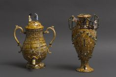 Richard Stratton, There are Arabs in Harrods Tea Urn and 1 Child Policy Vase, both 2014. Now showing at the gallery in the exhibition, Many Venuses