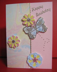 Thinking of You Card with dragonfly and pink and white flowers