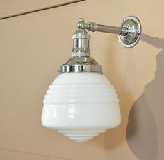 BUSTER WALL LIGHT-INDUSTRIAL STYLE BRACKET-CHROME- DOMEC  DECO GLASS SHADE-deco