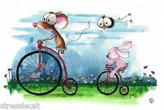Original Watercolor Painting Whimsical Art Illustration Mouse Crow Antique Bikes | eBay