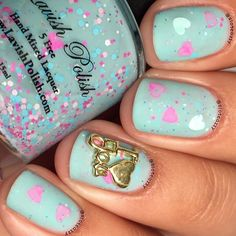 baby blue love manicure with gold I love you nail charm #nailart #manicure #nails #naildesign #manicureideas #lovenails #bluenails #nailcharms