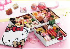 Traditional Japanese New Year Celebration food...in Hello Kitty Bento. Designed for 2013. Already? :)