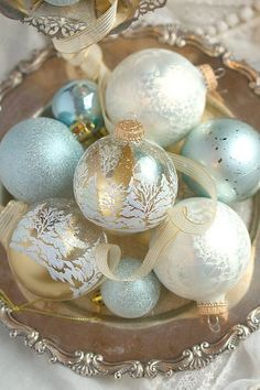 pale blue and gold Christmas ornaments