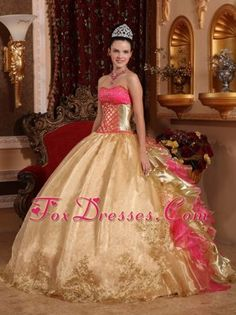 Gold Strapless Cheap Organza Embroidery Quinceanera Dress