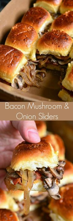 Bacon Mushroom and Onion Sliders. These sliders are packed with sauteed mushrooms and onions, bourbon brown sugar bacon, and baked with sweet garlic butter on top. Little crispy on the outside but all flavorful and juicy on the inside. Mushroom And Onions, Bacon Mushroom, Mushroom Recipes, Soup And Sandwich, Sandwich Recipes, Bacon Stuffed Mushrooms, Sauteed Mushrooms, Slider Sandwiches, Baked Sandwiches