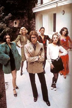 YSL AND MODELS IN HIS INFAMOUS GLAM COUTURE COLLECTION 1970!