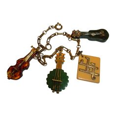RARE 1940's Vintage MARTHA SLEEPER Musical Instrument Bakelite Charm Bracelet... OHHH Love This <3 Ruby Want Wishes <3