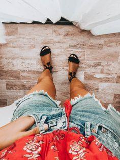 Floral denim jeans summer spring style fashion cutoffs