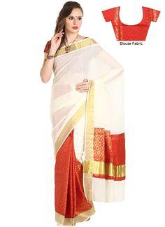 Beautiful Off white Silk Cotton Kerala Kasavu Sare Latest Indian Saree, Indian Sarees Online, Buy Sarees Online, White Silk, Off White, Kasavu Saree, Kerala Saree, Traditional Sarees, Party Wear Sarees