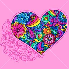 Groovy Psychedelic Doodle Heart