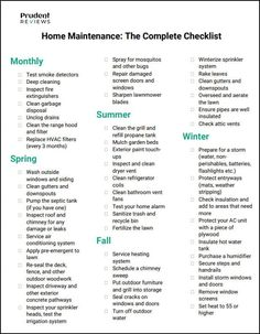 Use this free, printable home maintenance checklist to keep track of … House Cleaning Checklist, Household Cleaning Tips, Diy Cleaning Products, Cleaning Hacks, New House Checklist, Moving Checklist, Cleaning Schedules, Weekly Cleaning, Deep Cleaning