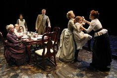 Image of Bustle gown (center figure) from Miracle Worker on Broadway. The bustle is created by the gathering of the fabric. Contemporary Plays, The Miracle Worker, Ouat, The Gathering, Broadway Shows, Theatre Posters, Theater, Set Design, Movie