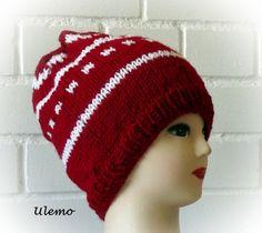 Strickmütze in rot und weiß von Ulemo auf Etsy, €19.80 es gibt dazu auch noch die passenden Armstulpen